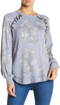Democracy Ruffled Floral Sweatshirt