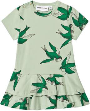 Mini Rodini Green Swallows Frill Dress