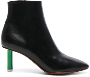 Vetements Lighter Heel Leather Ankle Boots in Black.