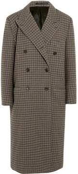 Balenciaga Oversized Double-breasted Checked Wool Coat - Brown
