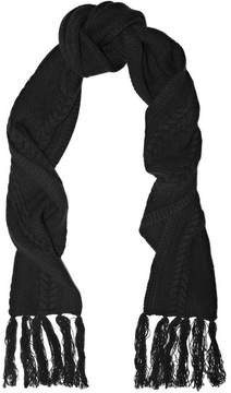 Frame Fringed Cable-knit Wool And Cashmere-blend Scarf - Black