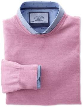 Charles Tyrwhitt Light Pink Merino Wool Crew Neck Sweater Size Large
