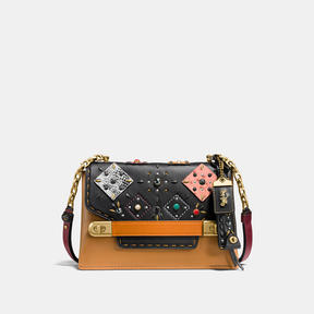 COACH Coach Swagger Chain Crossbody With Patchwork Prairie Rivets - OLD BRASS/BLACK MULTI - STYLE