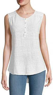 Velvet by Graham & Spencer Women's Linen Crewneck Sleeveless Top