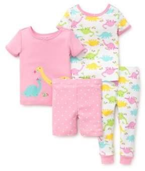 Little Me Little Girl's Four-Piece Dino Cotton Pajama Set