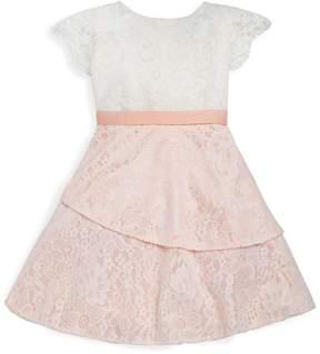 Us Angels Little Girl's Flutter-Sleeve Lace Dress