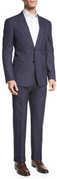 Armani Collezioni Textured Windowpane Check Two-Piece Suit, Navy