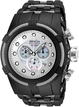 Invicta Bold Zeus Mens Chronograph Silvertone Dial Black IP Plated Stainless Steel Bracelet Watch