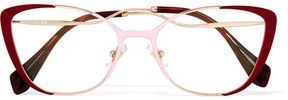Miu Miu Cat-eye Enamelled Gold-tone Optical Glasses - Red