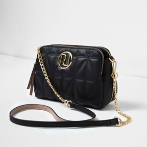 River Island Womens Black quilted cross body chain bag
