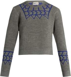 Kolor Geometric-intarsia long-sleeved sweater