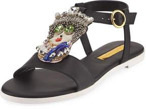 Rupert Sanderson Her Majesty Leather Sandals, Black