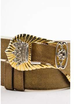 Judith Leiber Pre-owned Vintage Bronze Gold Silver Tone Reptile Leather Crown Buckle Belt.