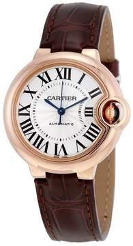 Cartier Balloon Bleu Silvered Opaline Flinque Dial Brown Leather Men's Watch
