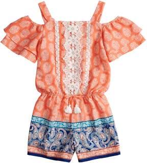 My Michelle Girls 7-16 Printed Crochet Ruffle Romper