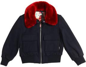 Paul Smith Wool Felt Bomber Jacket W/ Faux Fur