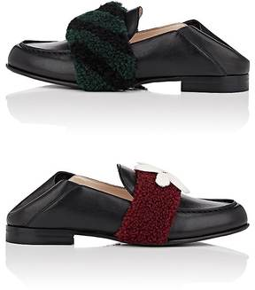 Fendi Women's Mismatched-Strap Leather Loafers