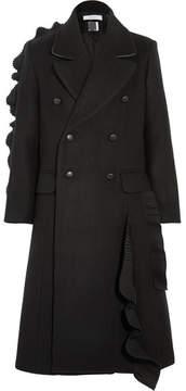 Facetasm Pleated Ruffled Wool Coat - Black