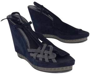 Fendi Navy & Grey Suede Platform Wedges
