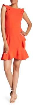 Donna Morgan Ruffle Boatneck Crepe Dress