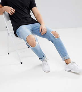 Co Brooklyn Supply Brooklyn Supply Light Wash Skinny Jeans With Hem Detail And Knee Rip
