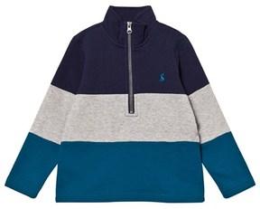 Joules Blue and Navy Colour Block Half Zip Sweatshirt
