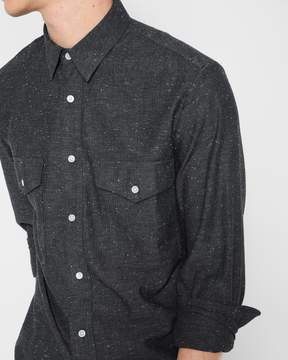7 For All Mankind Long Sleeve Double Patch Pocket Shirt in Dark Charcoal