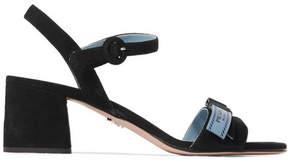 Prada Logo-print Suede Sandals - Black