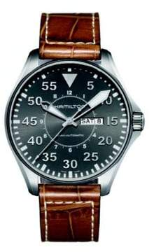 Hamilton Khaki Aviation Pilot Auto Stainless Steel & Embossed Leather Strap Watch
