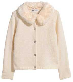 H&M Cardigan with Faux Fur Collar