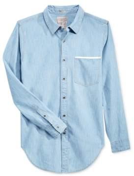 GUESS Mens Longline Denim Button Up Shirt Blue L