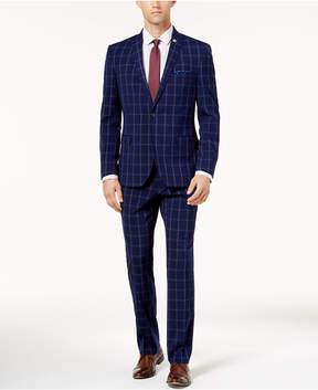 Nick Graham Men's Slim-Fit Stretch Blue Double Windowpane Suit