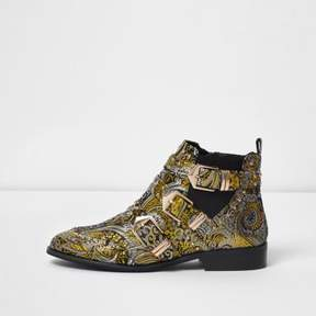 River Island Womens Gold jacquard multi buckle ankle boots