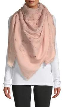 Valentino Frayed Cosmo Wool-Blend Scarf