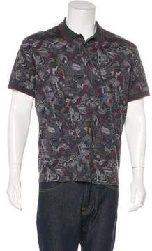 Salvatore Ferragamo Feather Print Polo Shirt
