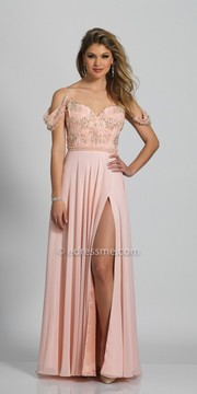 Dave and Johnny Sweetheart Off the Shoulder Beaded A-line Slit Dress