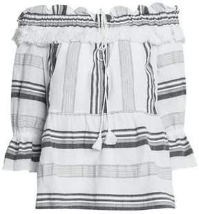 Rachel Zoe Off-The-Shoulder Striped Cotton Linen And Ramie-Blend Top