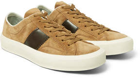 Tom Ford Cambridge Polished Leather-Panelled Suede Sneakers