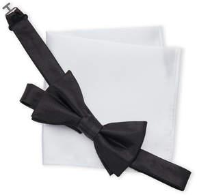 Geoffrey Beene Satin Bow Tie & Pocket Square Set