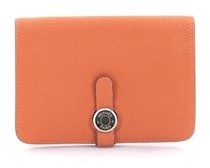 Hermes Pre-owned: Dogon Compact Wallet Leather. - ORANGE - STYLE
