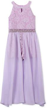 Speechless Glitter Lace Maxi Romper Overlay, Big Girls Plus