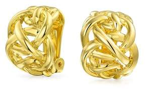 Celtic Bling Jewelry Gold Plated Brass Knot Half Hoop Clip On Earrings.