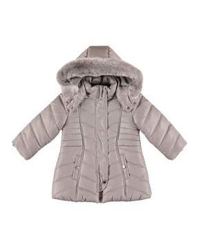 Mayoral Padded Coat w/ Faux Fur Hood, Size 3-7