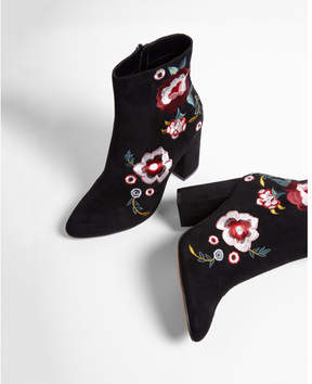 Express floral patch heeled booties