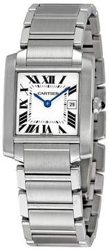 Cartier Tank Francaise White Grained Dial Steel Midsize Watch
