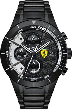 Ferrari Scuderia Men's Chronograph RedRev Evo Black Ion-Plated Bracelet Watch 46mm 0830267