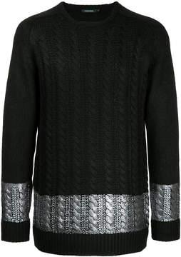 GUILD PRIME metallic stripe cable knit jumper