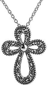 American West Sterling Scroll Cross Pendant Nec