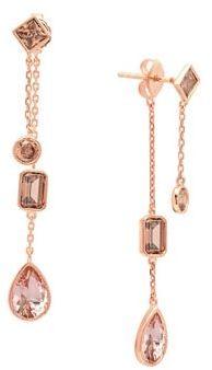 Crislu Blush Cubic Zirconia, 18K Rose Gold & Sterling Silver Drop Earrings