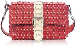 RED Valentino Strawberry/ivory Studded Leather Puzzle Shoulder Bag